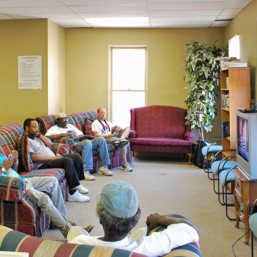 Day Center Guests Watching TV
